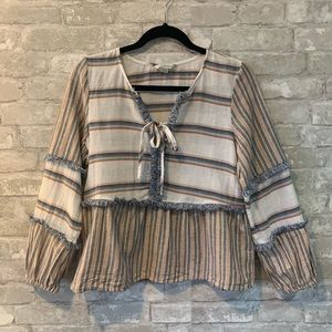 AEO XS Boho Long Sleeve Fringed Top Adorable
